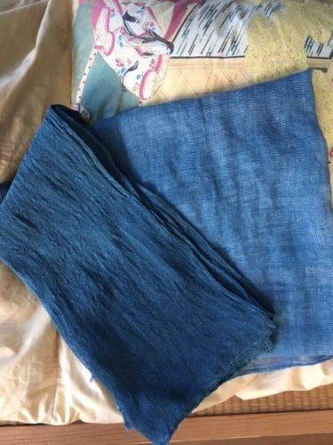 本藍染 ヘンプ100% カラミ織 ストール